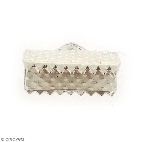 Embouts rubans 13 mm - Gris argentés brillants - 10 pcs - Photo n°1
