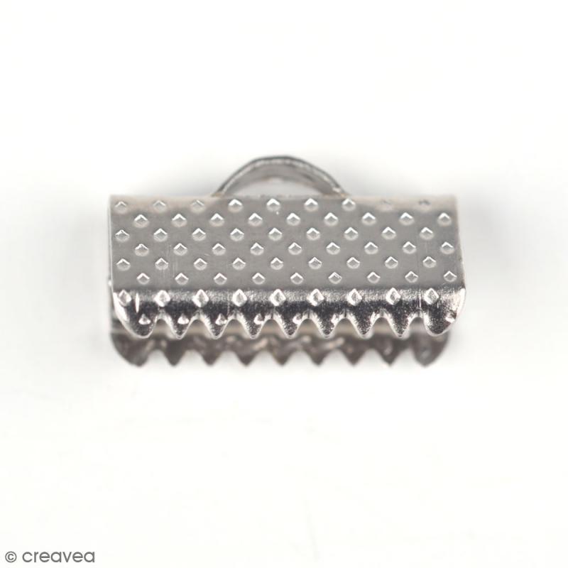 Embouts rubans 13 mm - Gris argentés vieillis - 10 pcs - Photo n°1