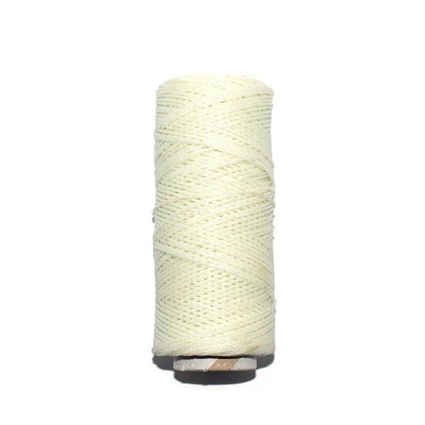Coton ciré 1 mm métallisé blanc x1m - Photo n°1