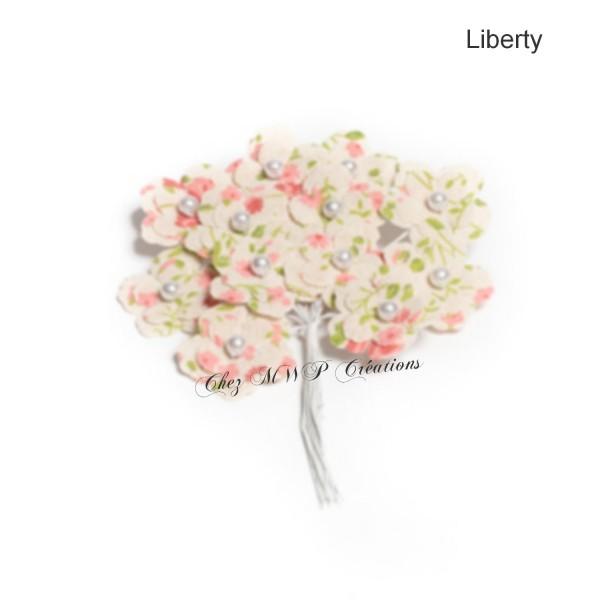 12 Fleurs 3Cm En Lin Sur Tige Liberty - Photo n°1