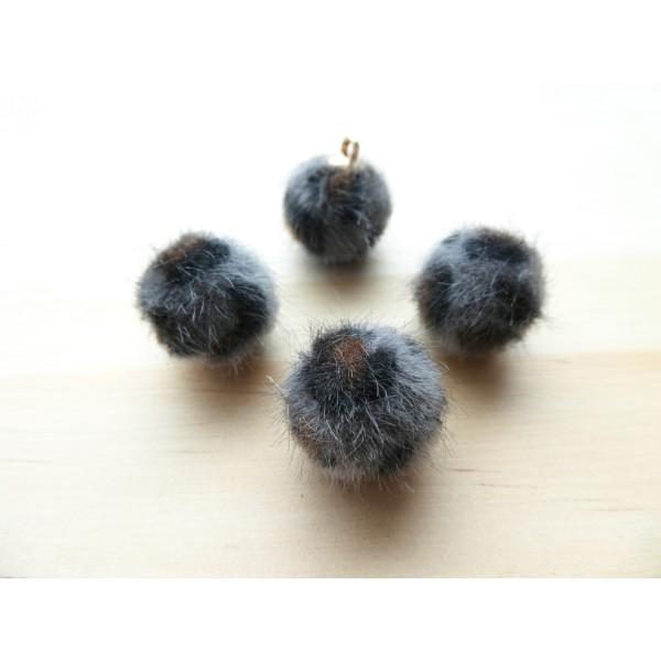4 Pompons boule peluche - imprimé léopard - 16mm - gris - Photo n°1