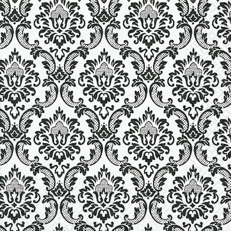serviette en papier fleur motif floral noir et blanc serviettes en papier creavea. Black Bedroom Furniture Sets. Home Design Ideas