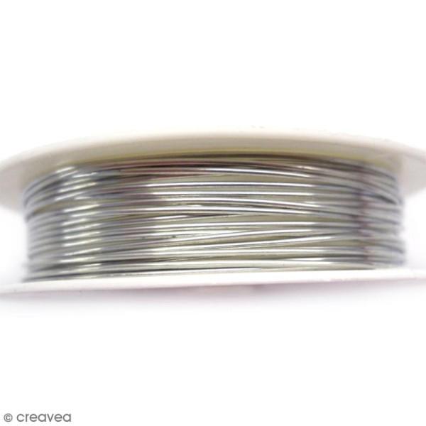 Bobine de fil cuivre Gris argenté vieilli - 0,8 mm - 2,5 mètres - Photo n°1