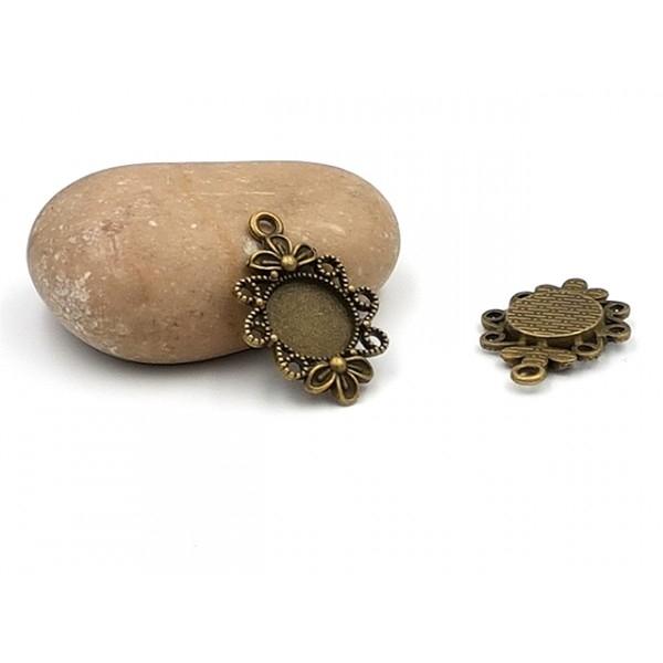 10 Pendentifs Fleuris Plateau Cabochon 12mm Bronze - Photo n°1