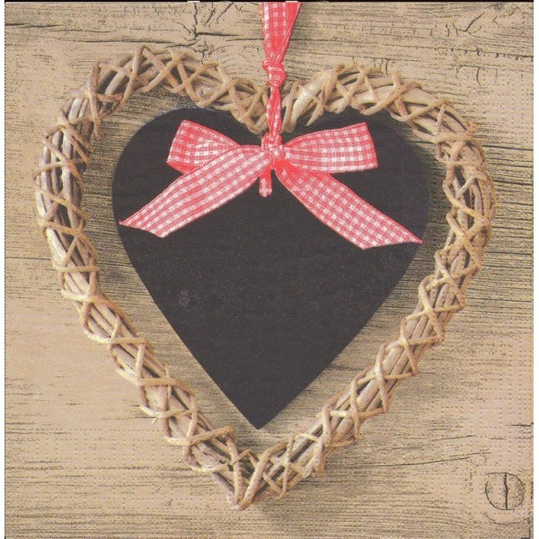 4 Serviettes en papier Coeur Nature Format Lunch Decoupage Decopatch 1331034  PPD - Photo n°1