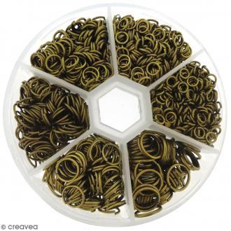 Assortiment d'anneaux pour bijoux - Bronze - 1650 pcs