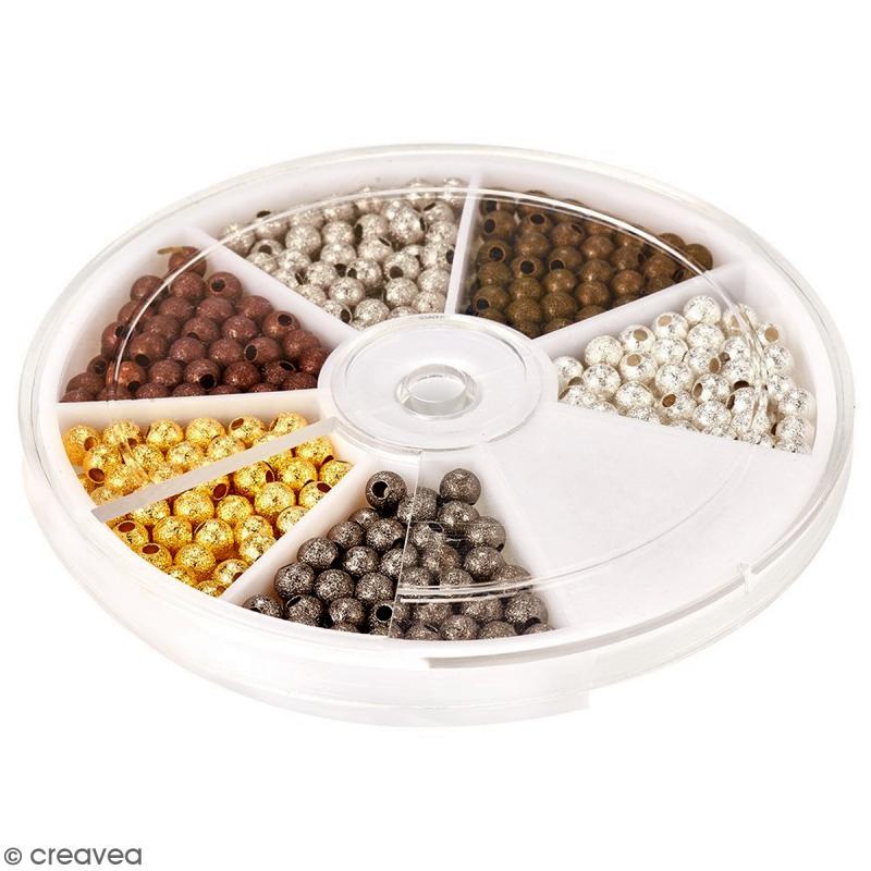 Assortiment de perles billes en métal 4 mm - 600 pcs - Photo n°2