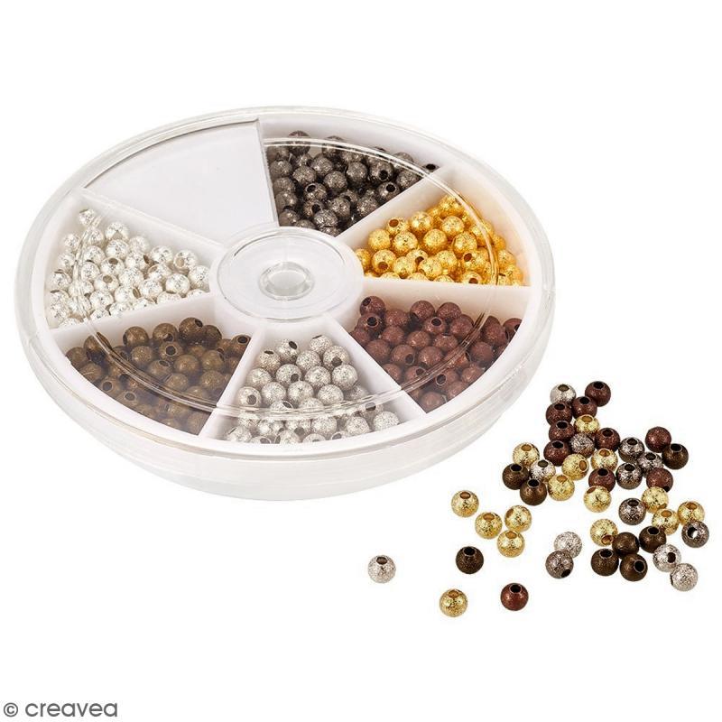Assortiment de perles billes en métal 4 mm - 600 pcs - Photo n°4