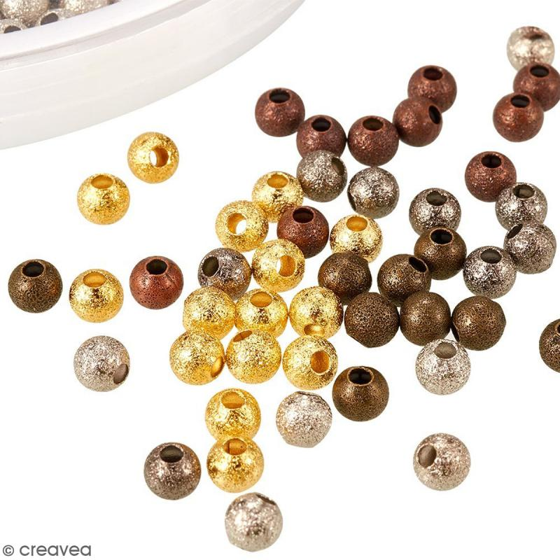 Assortiment de perles billes en métal 4 mm - 600 pcs - Photo n°5