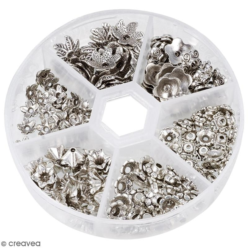 Assortiment perles coupelles grises argentées - 180 pcs - Photo n°3
