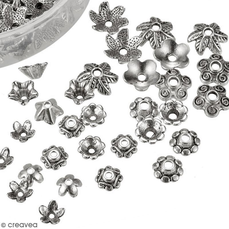 Assortiment perles coupelles grises argentées - 180 pcs - Photo n°5