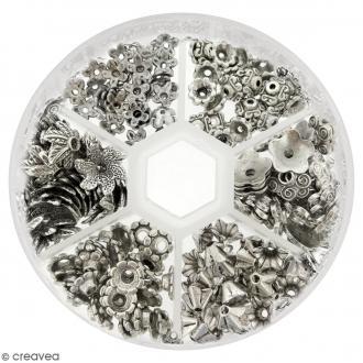 Assortiment perles coupelles grises argentées - 180 pcs
