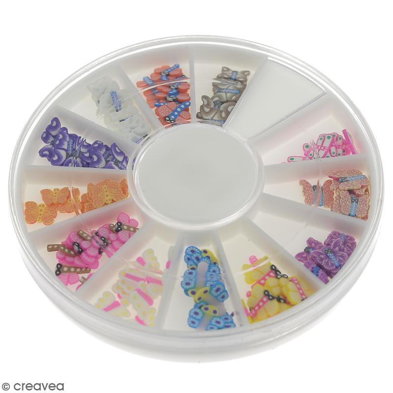 Tranches mini canes Fimo - Papillons - 12 modèles (120 pcs) - Photo n°1