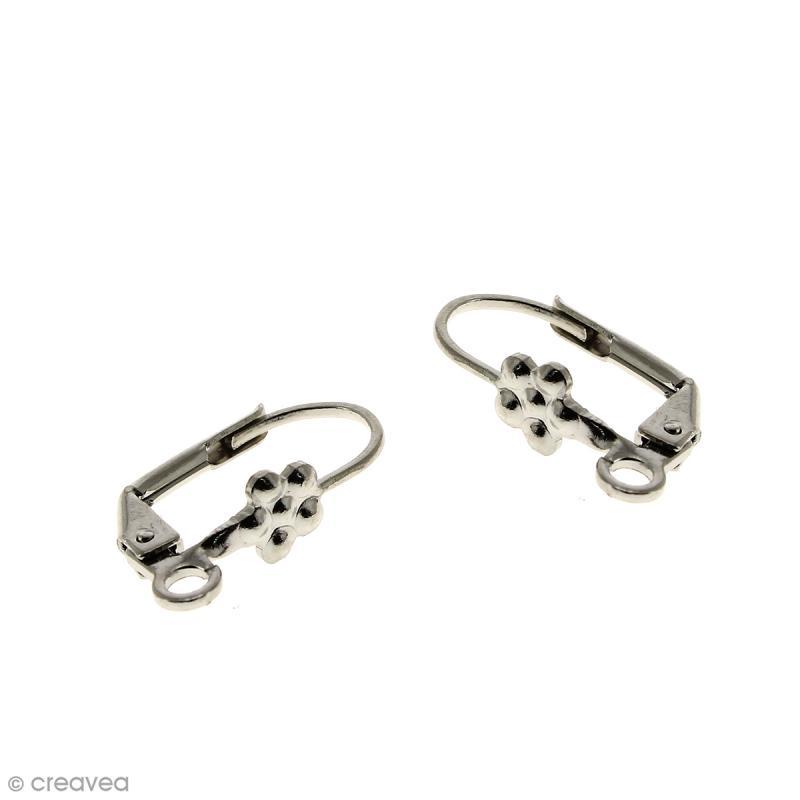 Boucles d'oreilles dormeuses - Fleur - Argent vieilli - 18 mm - Par paire - Photo n°1