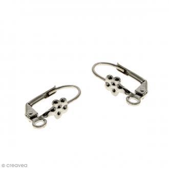 Boucles d'oreilles dormeuses - Fleur - Argent vieilli - 18 mm - Par paire