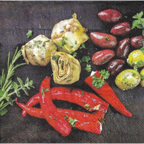 4 Serviettes en papier Cuisine Chili Format Lunch Decoupage Decopatch 2572-6230-67 Stewo - Photo n°1