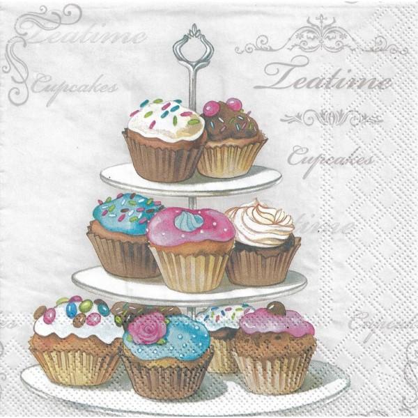 4 Serviettes en papier Etagère de Cupcakes Format Lunch Decoupage Decopatch 13312920 Ambiente - Photo n°1