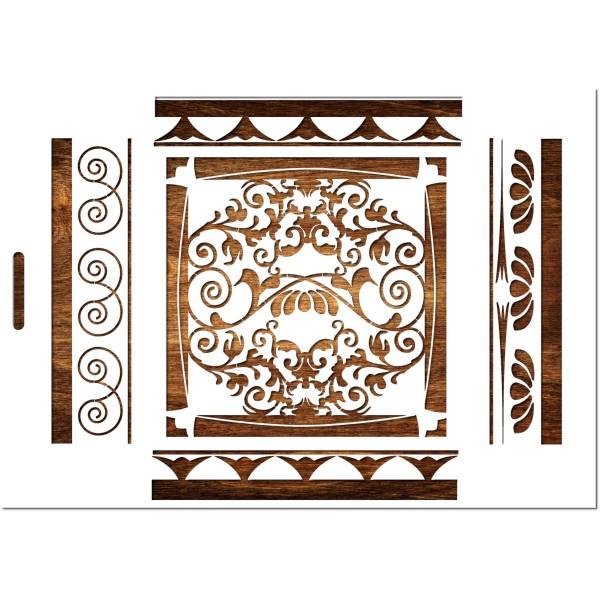 POCHOIR  EN PLASTIQUE MYLAR  Format A4 (21 * 29,7 cm) : Motif baroque pour frise mural - Photo n°1