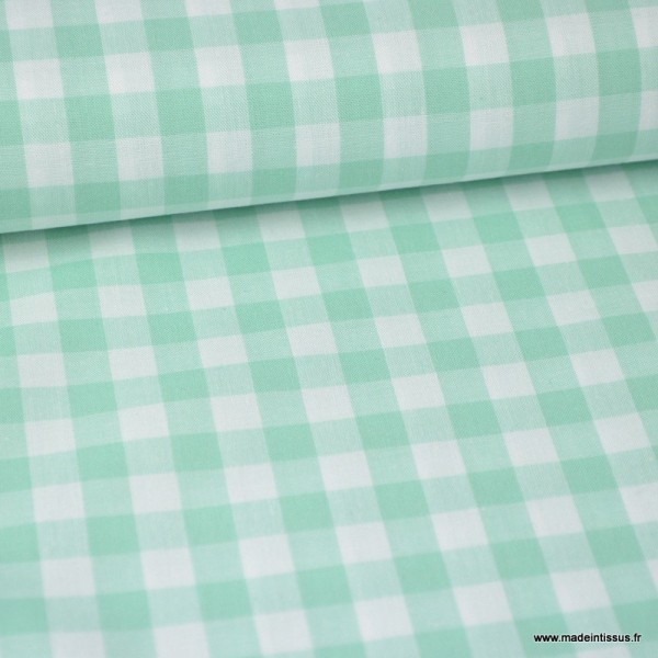 Tissu Vichy Grands Carreaux Sur Popeline Coloris Vert Menthe