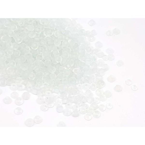 1000 PERLES DE ROCAILLE TRANSPARENT MAT GIVRE Ø 2 mm 12//0 CREATION BIJOUX
