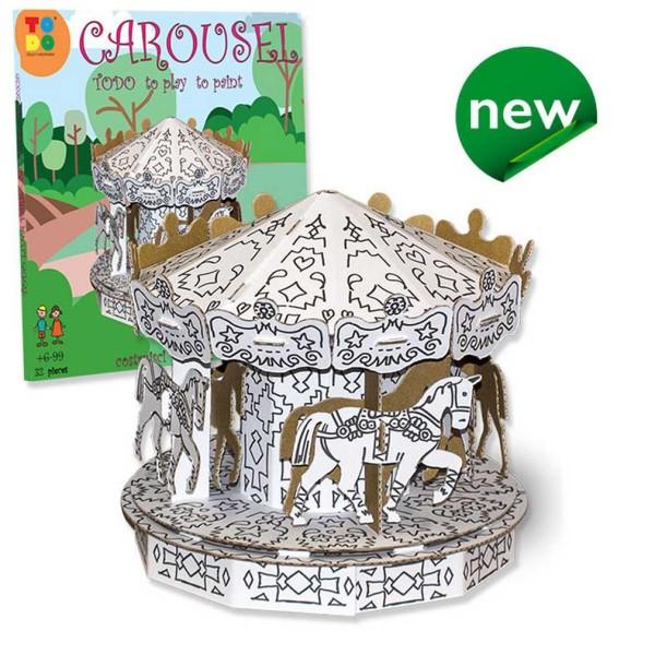 Carousel en kit carton à colorier et à monter sans colle - 32 pièces - 20 x 20 x 20 cm TODO - Photo n°1
