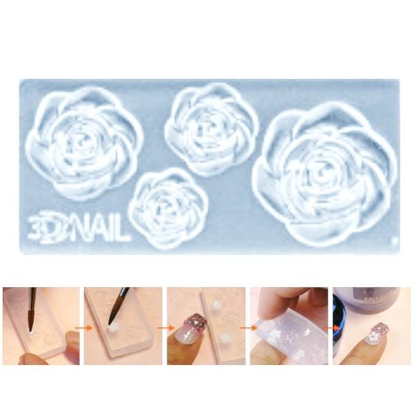 1pc Transparent Fleur Rose en Silicone 3D Mini Moule Pour l'Art d'Ongle de Petit Bricolage Moule en - Photo n°1