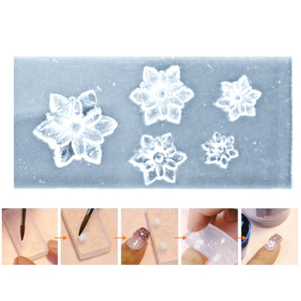 1pc Transparent 5 Fleur Tailles Silicone Mini Moule Pour l'Art d'Ongle de Petit Bricolage Moule en R - Photo n°1