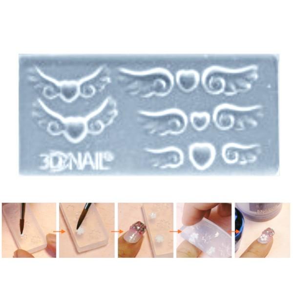 1pc Transparent 11 les Ailes de l'Ange Cœur Amour Valentine Silicone 3d Mini Moule Pour l'Art d'Ongl - Photo n°1