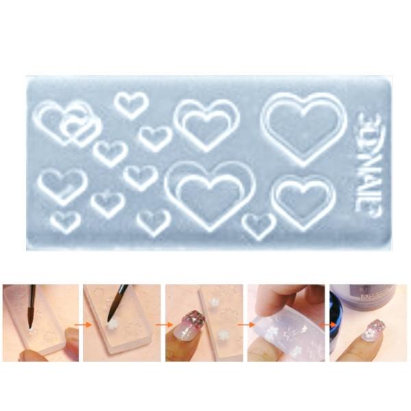 1pc Transparent 14 Cœur Amour Valentine Silicone 3d Mini Moule Pour l'Art d'Ongle de Petit Bricolage - Photo n°1