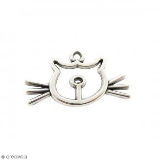 Breloque métal Chat - 31 x 16 mm