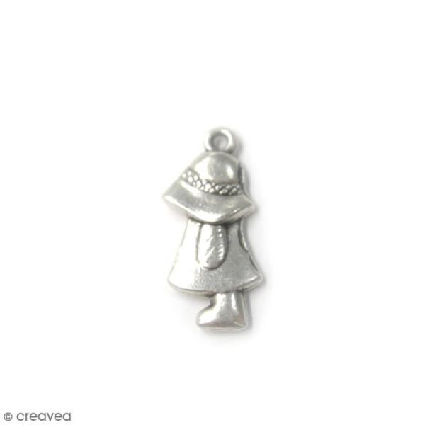 Breloque métal Fille au chapeau - 23 x 10 mm - Photo n°1