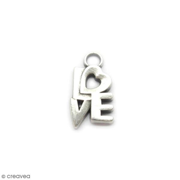 Breloque métal Lettres love - 17 x 10 mm - Photo n°1
