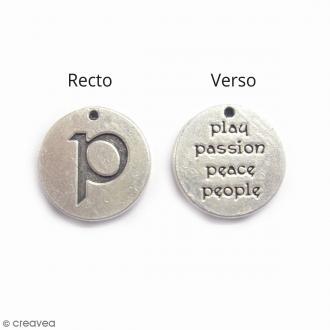 Breloque métal Médaille Passion - 15 mm