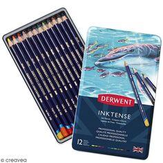 Boîte de crayons de couleur aquarellables - Derwent Inktense - 12 pcs