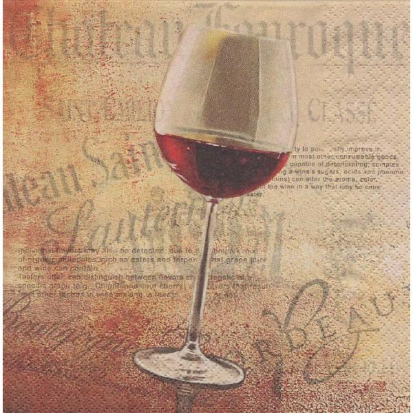 4 Serviettes en papier Cuisine Vin Rouge Format Cocktail Decoupage Decopatch 111244 Home Fashion - Photo n°1