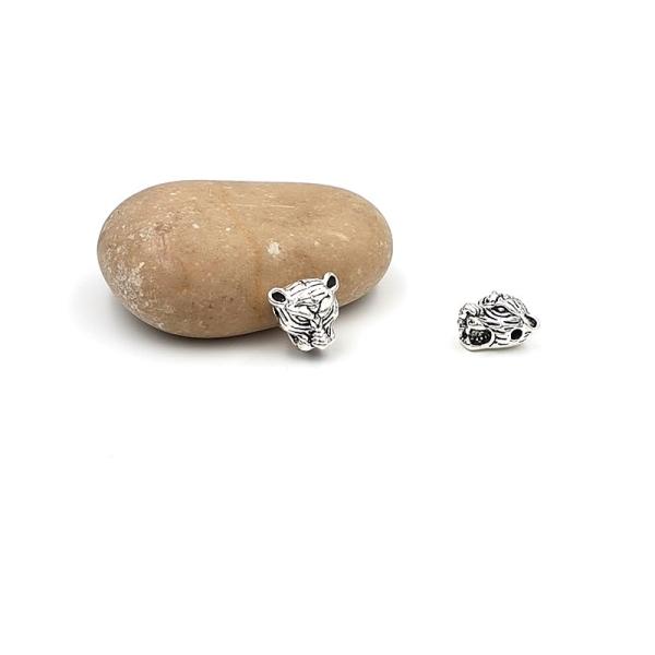 5 Perles Passantes Tête De Tigre Argent Mat 12mm - Photo n°1