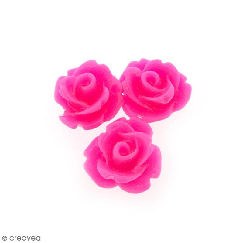 cabochon fleur en r sine rose fuchsia 10 mm 10 pcs cabochons fleurs creavea. Black Bedroom Furniture Sets. Home Design Ideas