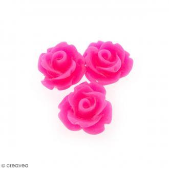 Cabochon Fleur en résine Rose fuchsia - 10 mm - 10 pcs