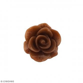 Cabochon Fleur en résine Marron chocolat - 20 mm - 1 pce