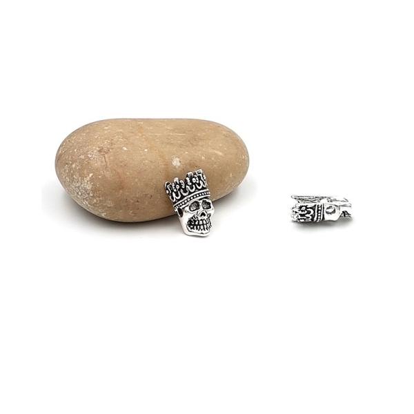 5 Perles Passantes Tête De Mort Couronne Argent Mat 16mm - Photo n°1