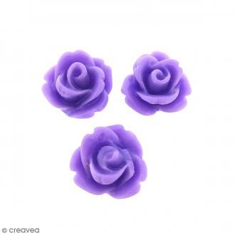 Cabochon Fleur en résine Violet mauve - 10 mm - 10 pcs