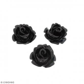 Cabochon Fleur en résine Noir - 10 mm - 10 pcs