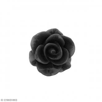 Cabochon Fleur en résine Noir - 20 mm - 1 pce