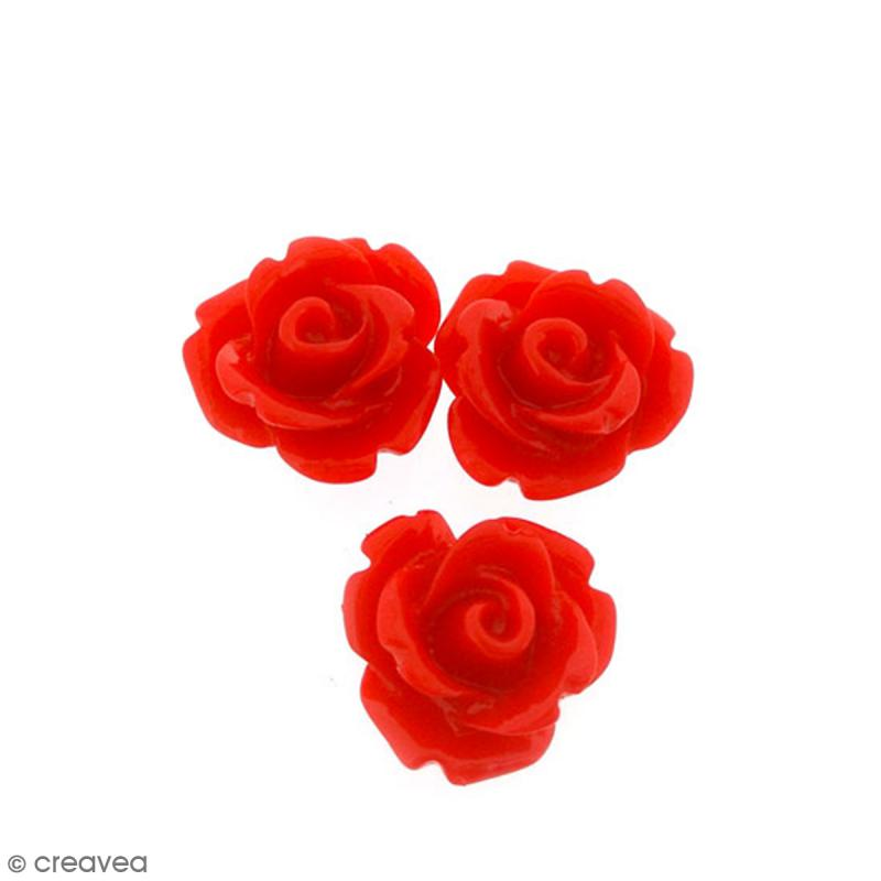 Cabochon Fleur en résine Rouge - 10 mm - 10 pcs - Photo n°1
