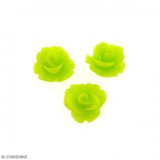 Cabochon Fleur en résine Vert anis - 10 mm - 10 pcs
