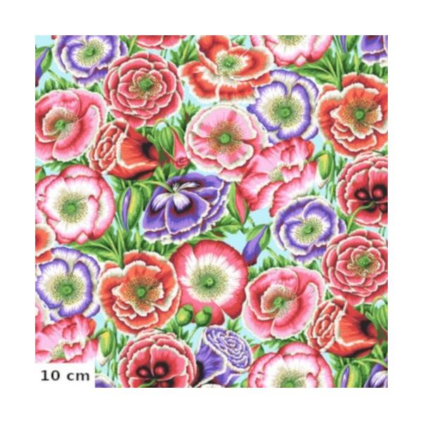 Tissu Philip Jacobs Coquelicots rose et violet Poppy Garden PJ095 - Photo n°1
