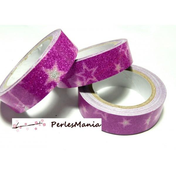 H079 Lot 2 Rouleaux de masking tape, rouleau adhesif coton Paillette ROSE FUSHIA 15mm motif Etoile - Photo n°1