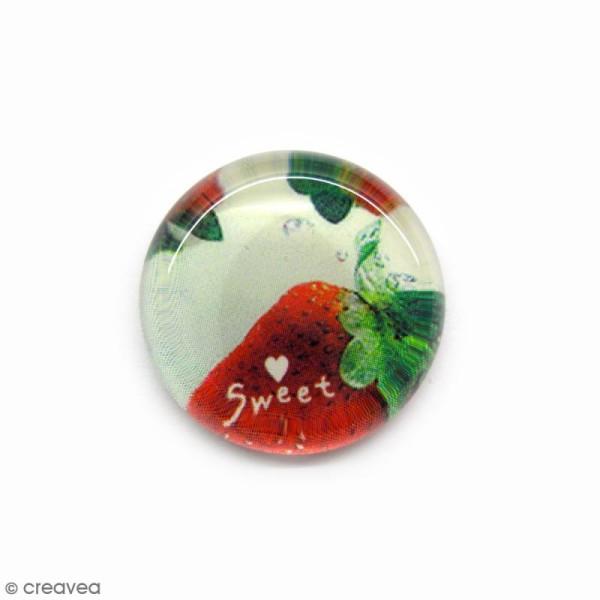 Cabochon en verre Fraise - 22 mm - Photo n°1