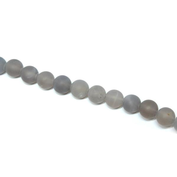 Perles semi-précieuses dépolies tons gris - 1 fil - Photo n°2