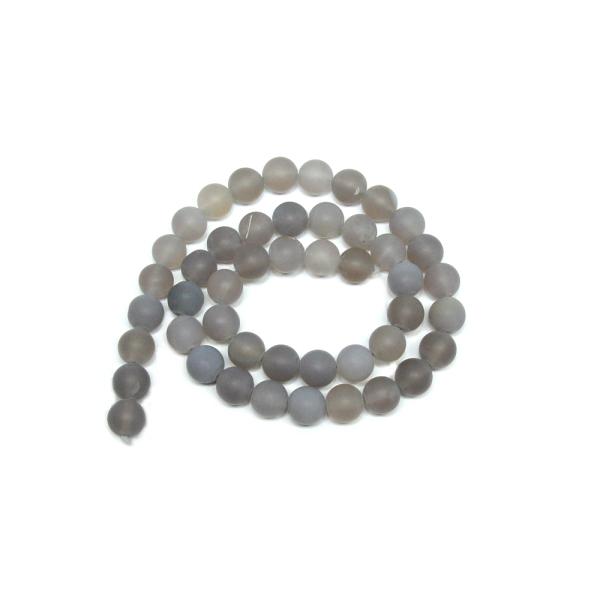 Perles semi-précieuses dépolies tons gris - 1 fil - Photo n°1